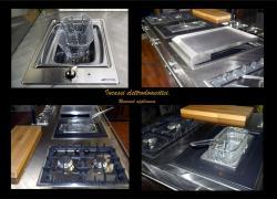 La cucina in acciaio inox con forno a scomparsa